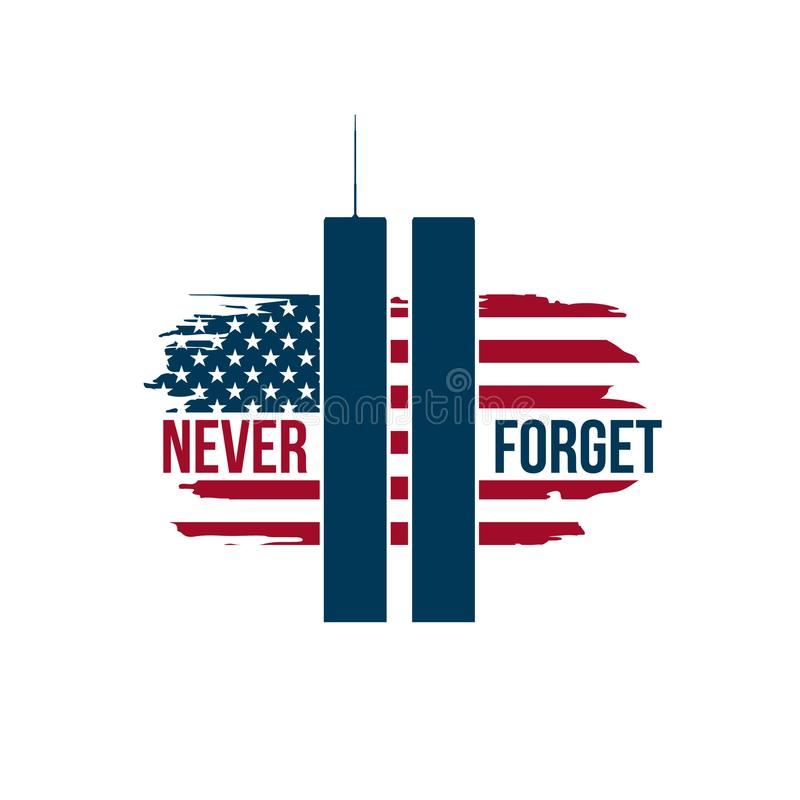 9/11 kaart van de Patriotdag met Tweelingtorens op Amerikaanse vlag stock illustratie
