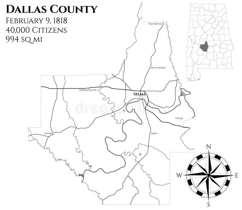 Kaart van de provincie van Dallas in Alabama vector illustratie