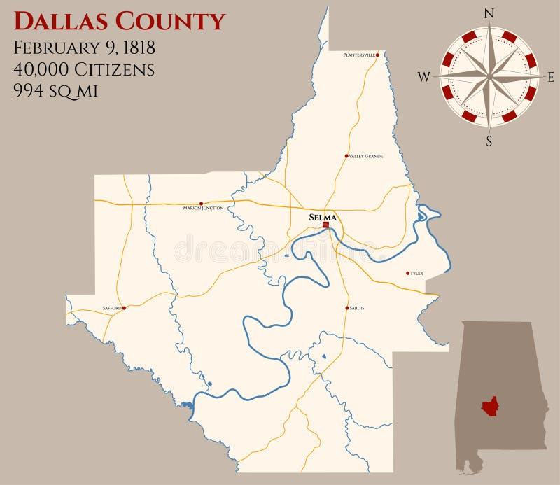 Kaart van de provincie van Dallas in Alabama royalty-vrije illustratie