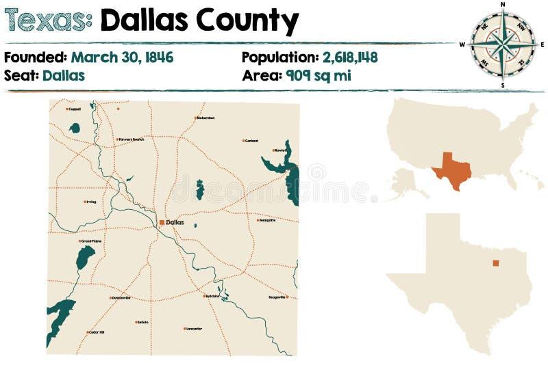 Kaart van de provincie van Dallas in Texas vector illustratie