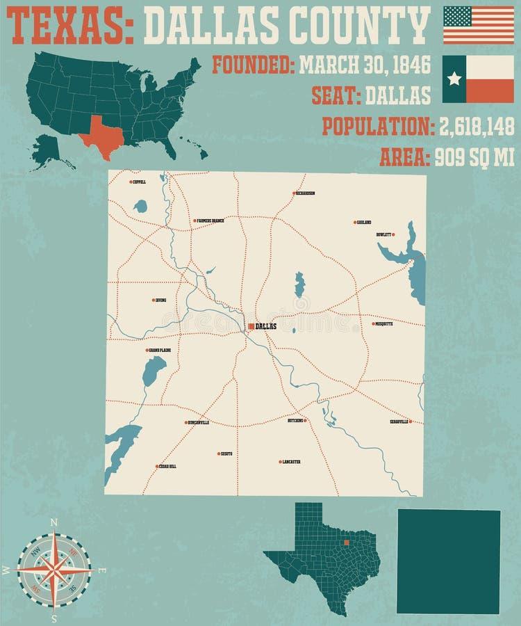 Kaart van de provincie van Dallas in Texas royalty-vrije illustratie