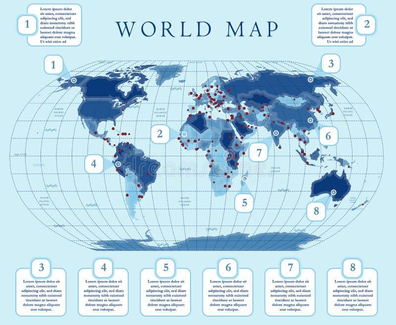 Kaart van de Simpe de kleinschalige politieke wereld met belangrijke kapitalen Vlak ontwerp met net, etiket en legende op de kaar vector illustratie