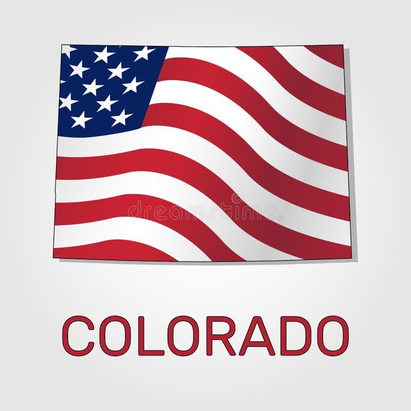 Kaart van de staat van Colorado in combinatie met het golven de vlag van de Verenigde Staten - Vector royalty-vrije illustratie