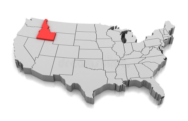 Kaart van de staat van Idaho, de V.S. royalty-vrije illustratie