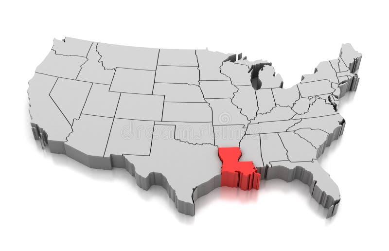 Kaart van de staat van Louisiane, de V.S. stock illustratie