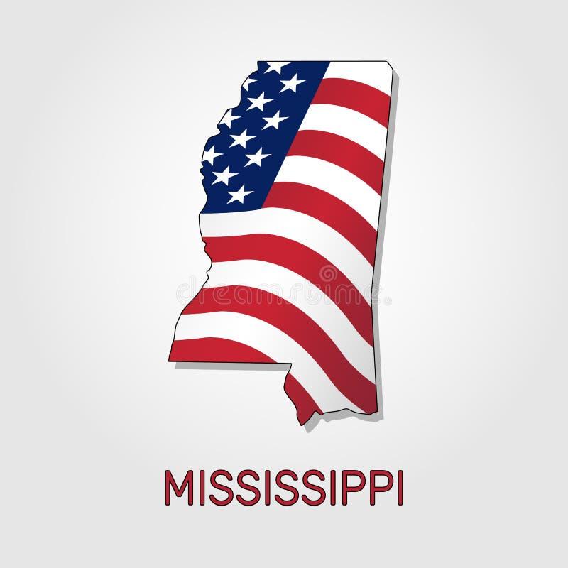 Kaart van de staat van de Mississippi in combinatie met het golven de vlag van de Verenigde Staten - Vector stock illustratie