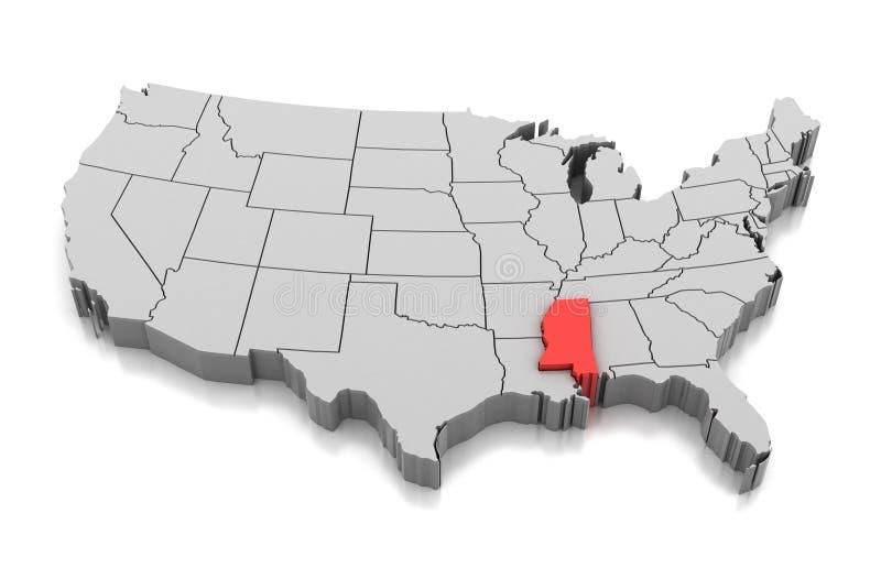 Kaart van de staat van de Mississippi, de V.S. royalty-vrije illustratie