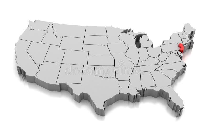 Kaart van de staat van New Jersey, de V.S. royalty-vrije illustratie