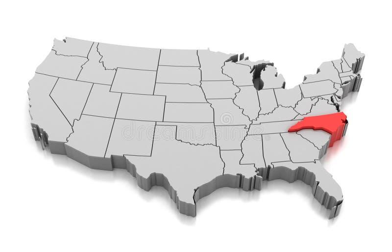 Kaart van de staat van Noord-Carolina, de V.S. royalty-vrije illustratie