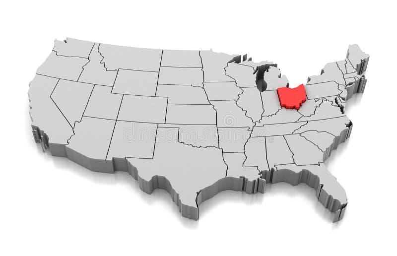 Kaart van de staat van Ohio, de V.S. royalty-vrije illustratie