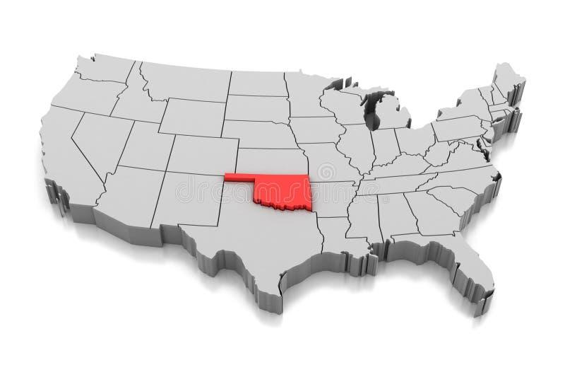 Kaart van de staat van Oklahoma, de V.S. royalty-vrije illustratie