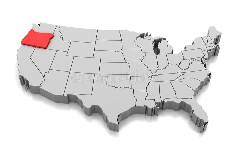 Kaart van de staat van Oregon, de V.S. royalty-vrije illustratie