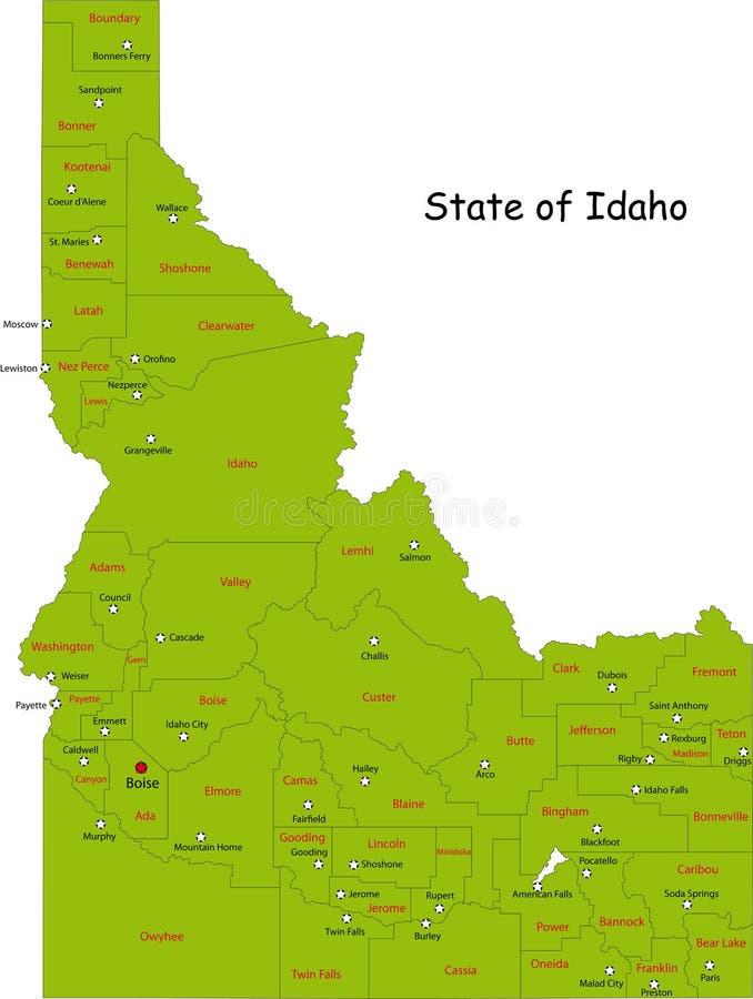 Kaart van de staat van Idaho stock illustratie