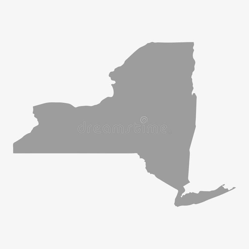 Kaart van de Staat van New York in grijs op een witte achtergrond stock illustratie