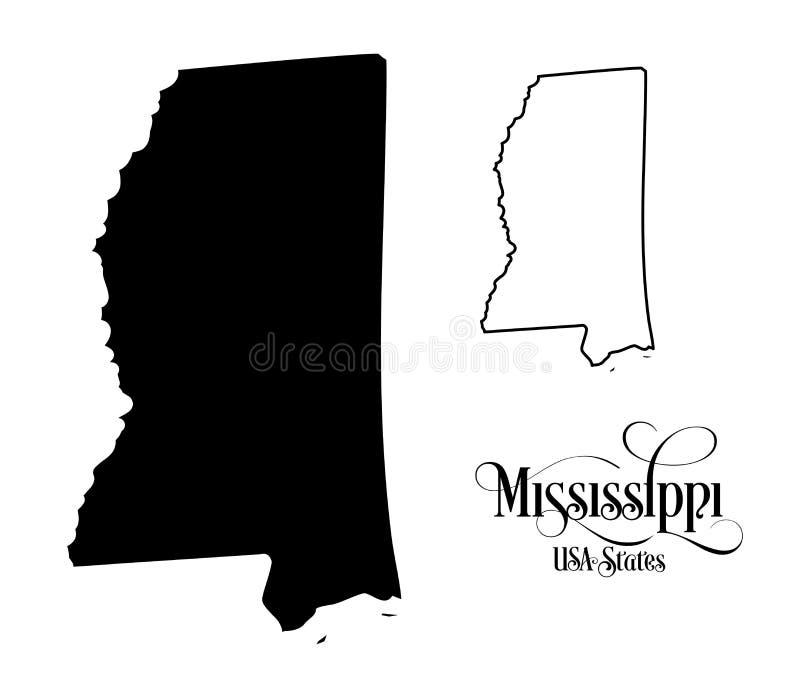 Kaart van de Staat van de Verenigde Staten van Amerika de V.S. van de Mississippi - Illustratie op Witte Achtergrond vector illustratie