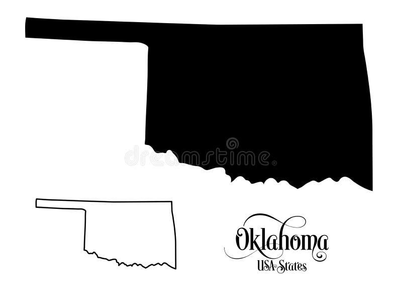 Kaart van de Staat van de Verenigde Staten van Amerika de V.S. van Oklahoma - Illustratie op Witte Achtergrond stock illustratie