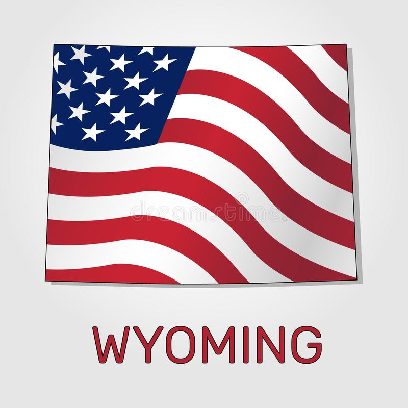 Kaart van de staat van Wyoming in combinatie met het golven de vlag van de Verenigde Staten - Vector stock illustratie