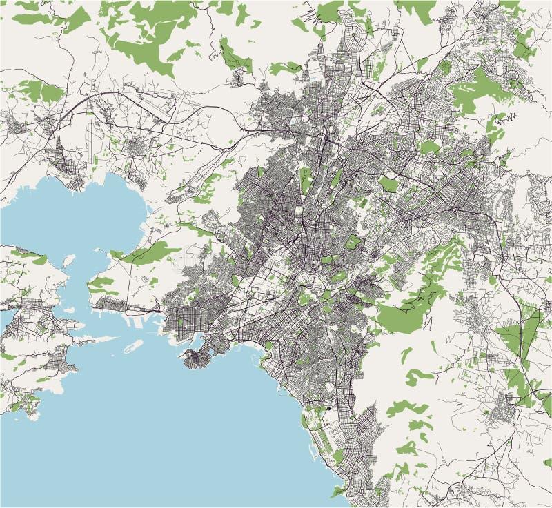 Kaart van de stad van Athene, Griekenland vector illustratie