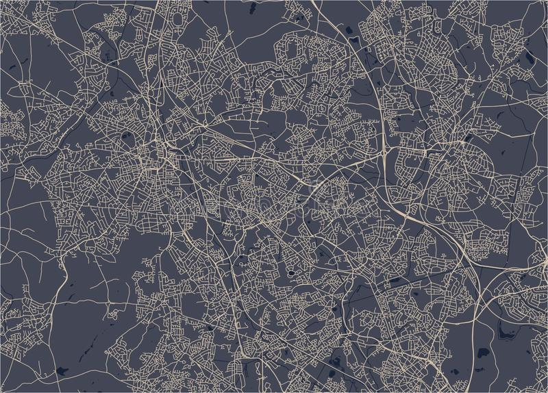 Kaart van de stad van Birmingham, Wolverhampton, Engelse Binnenlanden, het Verenigd Koninkrijk, Engeland stock fotografie