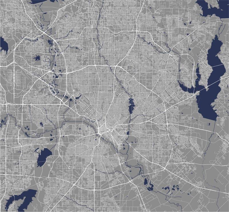 Kaart van de stad van Dallas, Texas, de V.S. stock illustratie