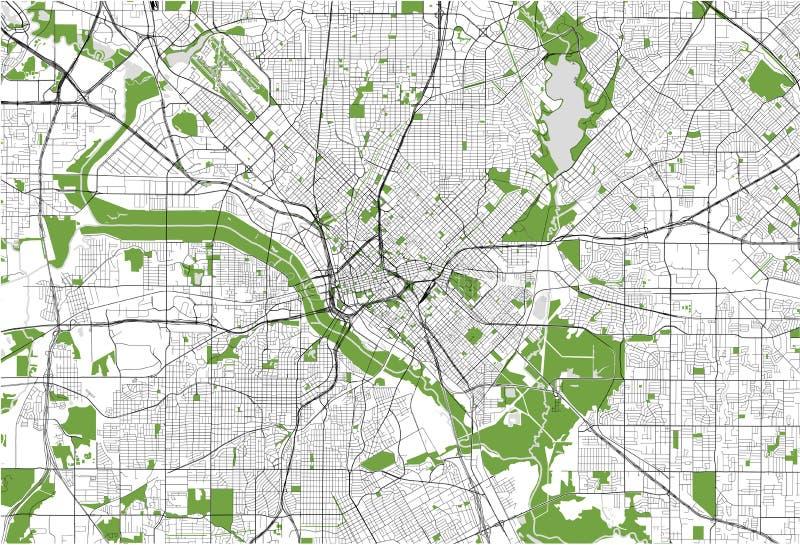 Kaart van de stad van Dallas, Texas, de V.S. royalty-vrije illustratie