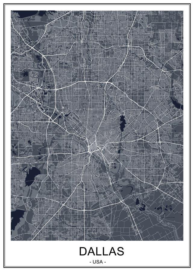 Kaart van de stad van Dallas, Texas, de V.S. vector illustratie