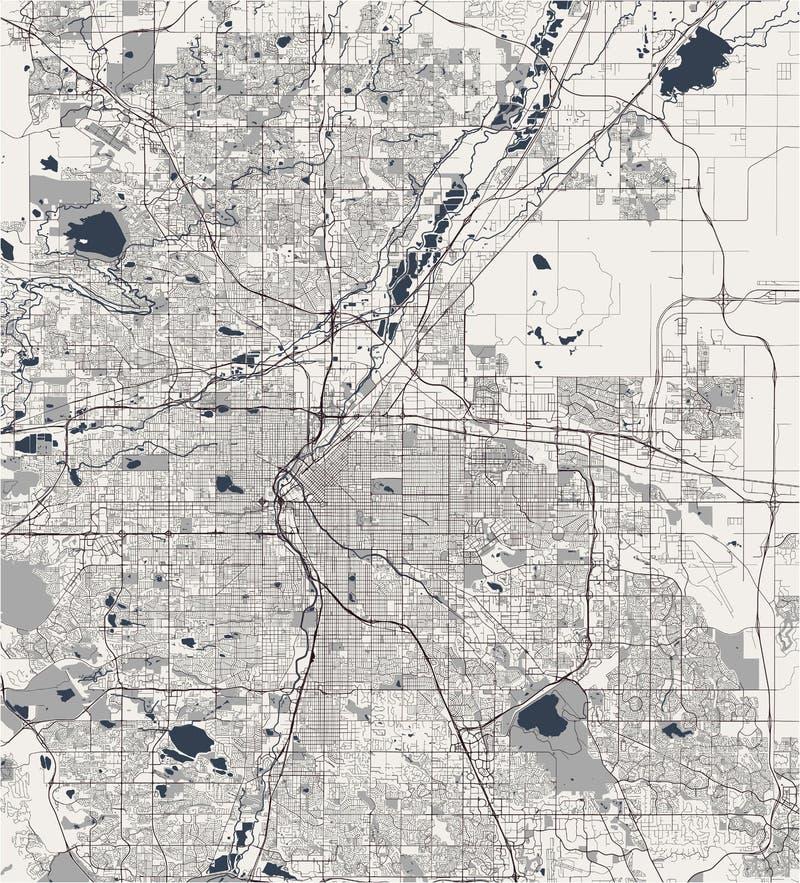 Kaart van de stad van Denver, Colorado, de V.S. royalty-vrije illustratie