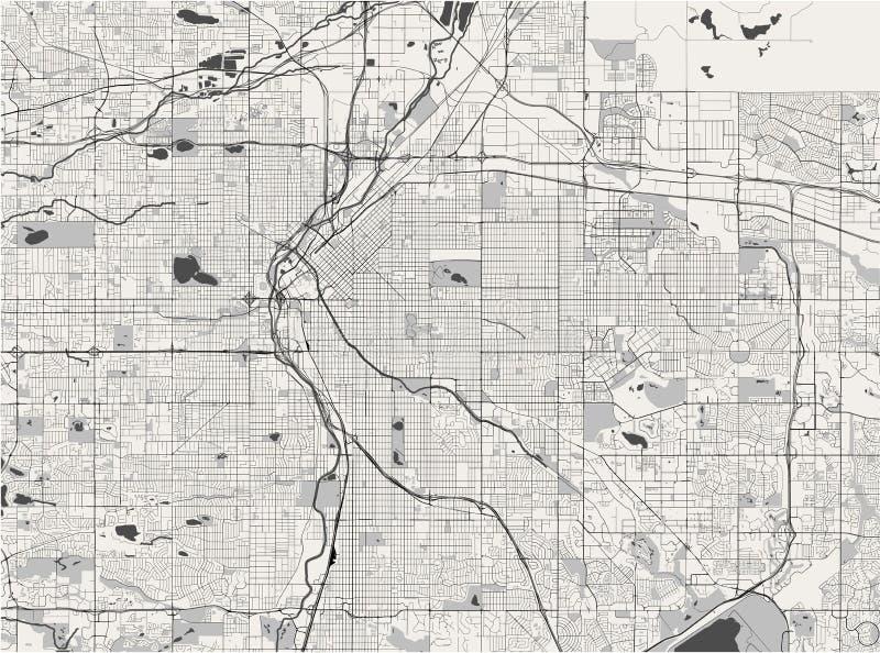 Kaart van de stad van Denver, Colorado, de V.S. vector illustratie