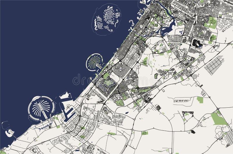 Kaart van de stad van Doubai, Verenigde Arabische Emiraten de V.A.E stock illustratie