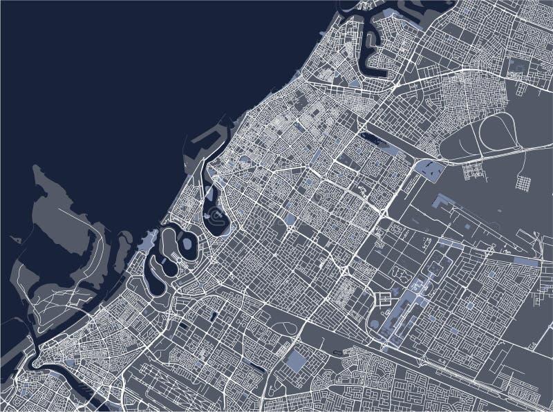 Kaart van de stad van Doubai, Verenigde Arabische Emiraten de V.A.E vector illustratie
