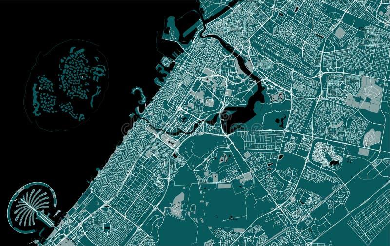 Kaart van de stad van Doubai, Verenigde Arabische Emiraten de V.A.E royalty-vrije illustratie