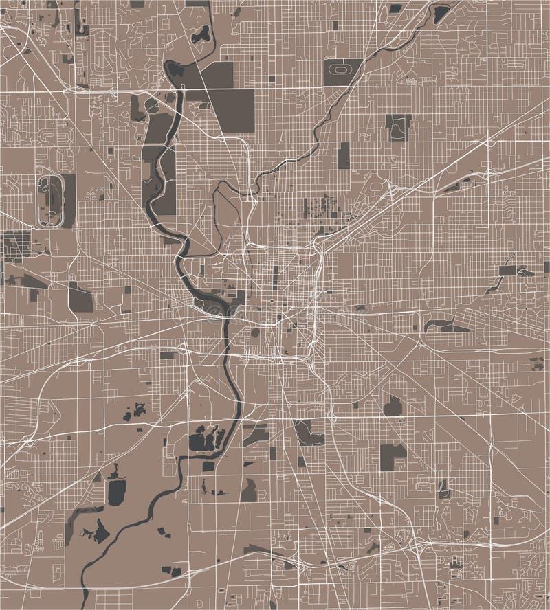 Kaart van de stad van Indianapolis, Indiana, de V.S. stock illustratie