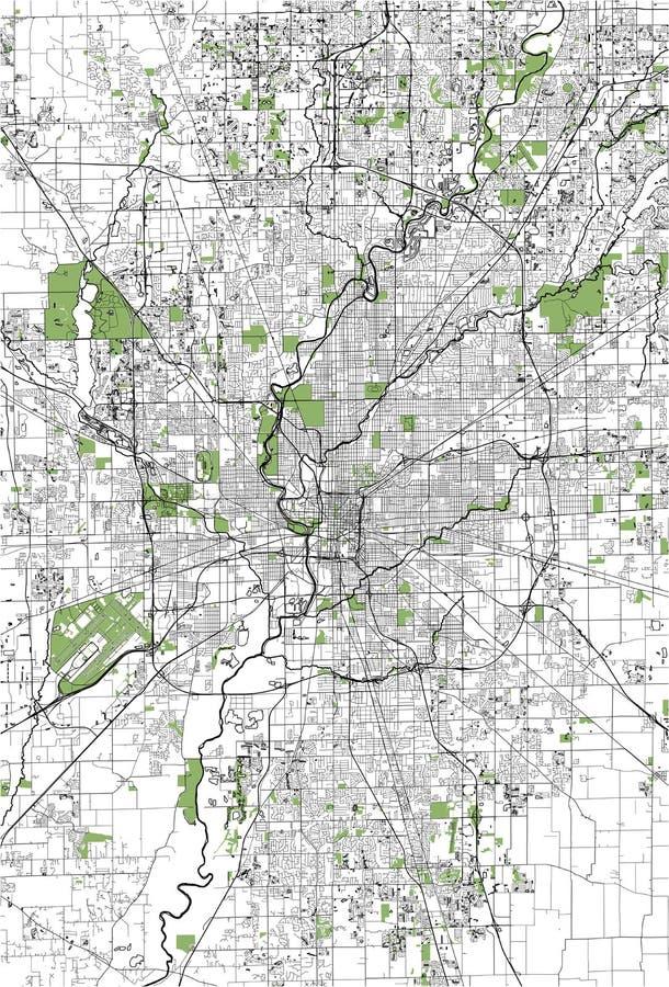 Kaart van de stad van Indianapolis, Indiana, de V.S. royalty-vrije illustratie