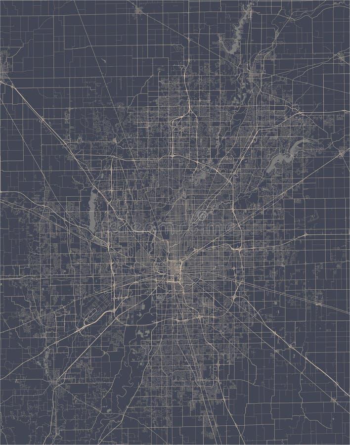 Kaart van de stad van Indianapolis, Indiana, de V.S. vector illustratie