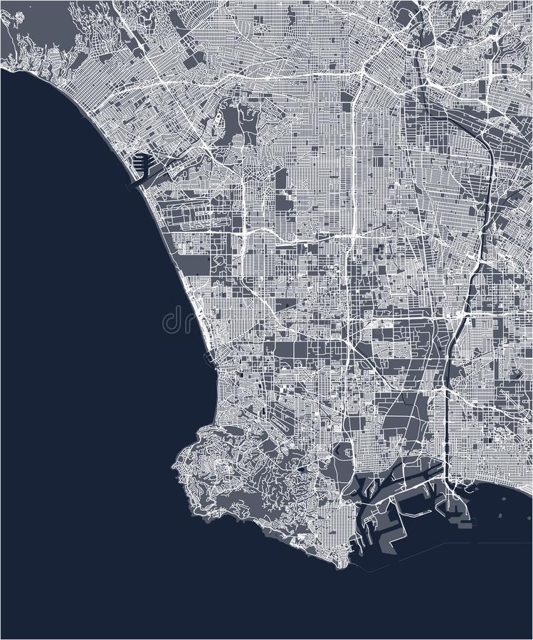 Kaart van de stad van Los Angeles, de V.S. vector illustratie