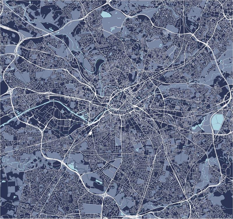 Kaart van de stad van Manchester, Engeland, Groot-Brittannië vector illustratie