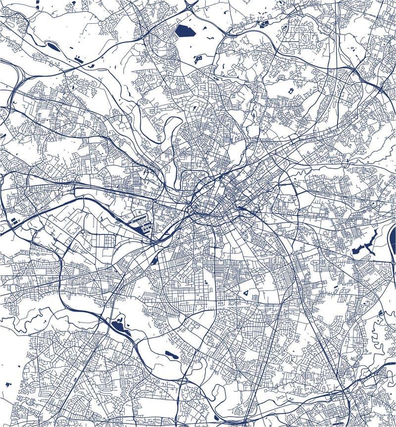 Kaart van de stad van Manchester, Engeland, Groot-Brittannië stock illustratie