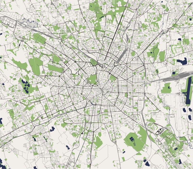 Kaart van de stad van Milaan, kapitaal van Lombardije, Italië vector illustratie