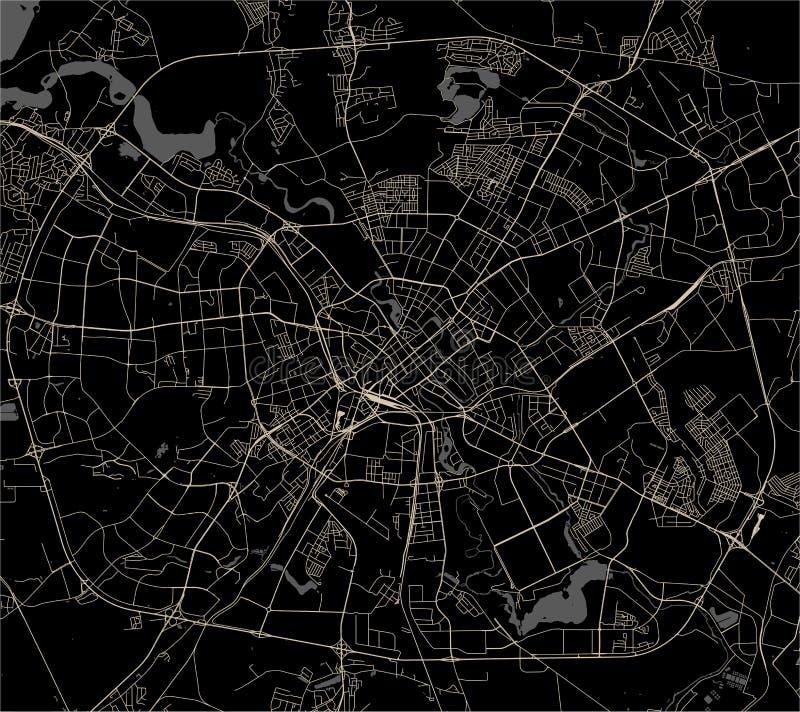 Kaart van de stad van Minsk, Wit-Rusland vector illustratie