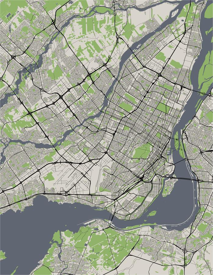 Kaart van de stad van Montreal, Canada stock illustratie