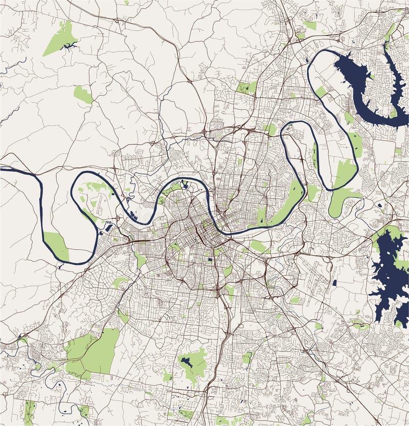 Kaart van de stad van Nashville, Tennessee, de V.S. royalty-vrije illustratie