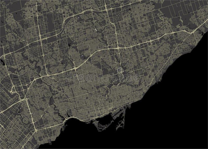Kaart van de stad van Toronto, Canada vector illustratie