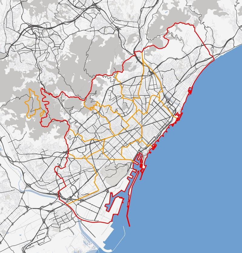 Kaart van de stad van Barcelona stock afbeelding