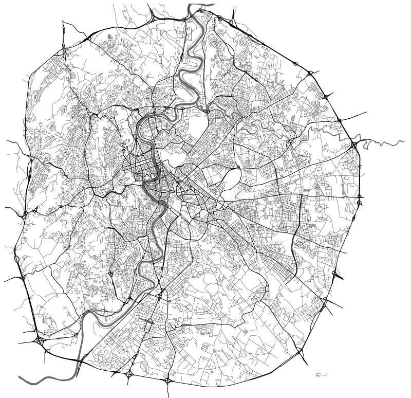 Kaart van de stad van Rome, Italië royalty-vrije illustratie