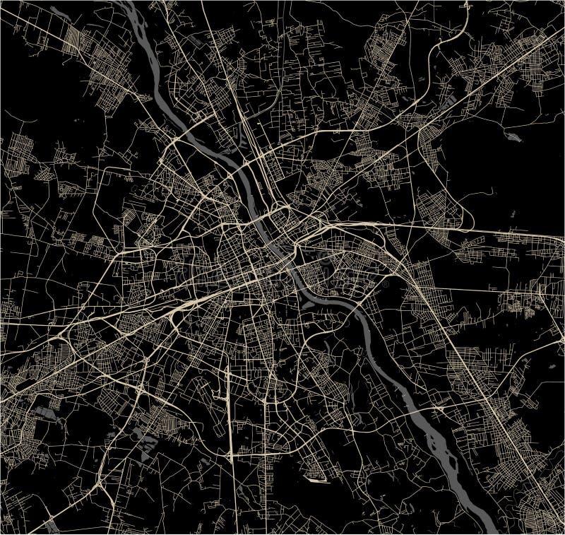 Kaart van de stad van Warshau, Polen royalty-vrije illustratie