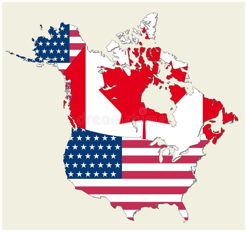 Kaart van de staten van Canada en de V.S. als vlag wordt vertegenwoordigd die stock illustratie