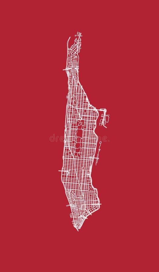 Kaart van de straten van Manhattan stock illustratie