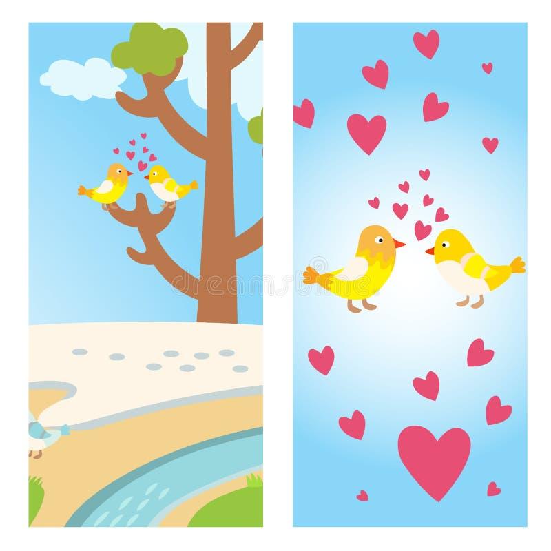 Kaart van de twee vliegt de mooie vogelslente met boom en paar vectordaling van liefde dieren kussend met harten gele vogels royalty-vrije illustratie