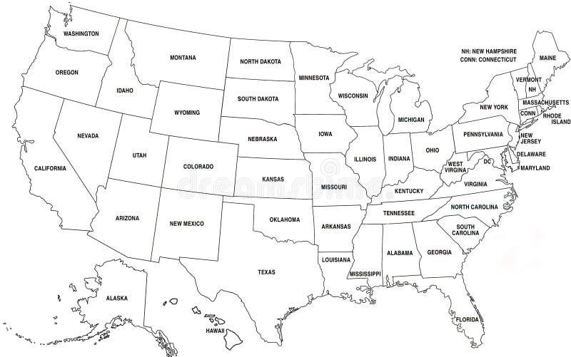 Kaart van de V.S. vector illustratie