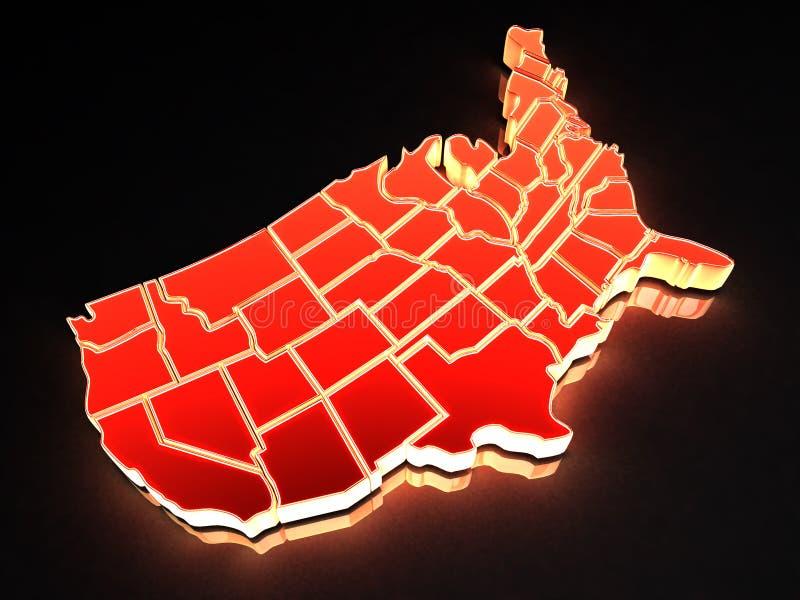 Kaart van de V.S. 3d stock illustratie